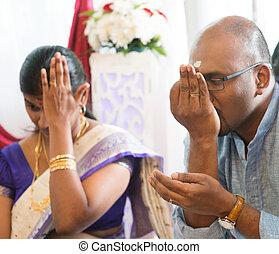 recebido, padre, pessoas, indianas, orações