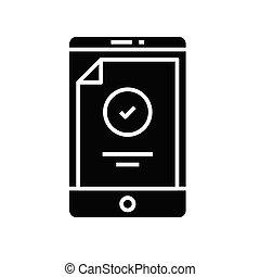Receipt black icon, concept illustration, vector flat symbol, glyph sign.