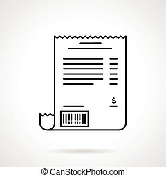 Receipt black line vector icon - Black flat line vector icon...