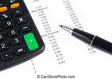 receipt calculator and pen