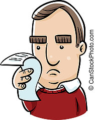 Receipt Concern - A concerned cartoon man checks over his...