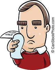 Receipt Concern - A concerned cartoon man checks over his...