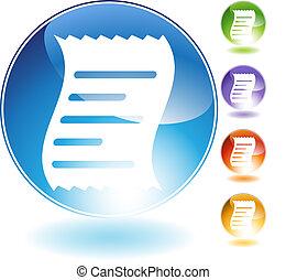 Receipt Crystal Icon - Receipt crystal icon isolated on a...