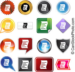 Receipt Icon Set - Receipt icon set isolated on a white...