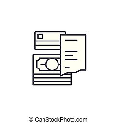 Receipt linear icon concept. Receipt line vector sign, symbol, illustration.
