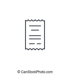 receipt, paper thin line icon. Linear vector symbol