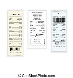 Receipt payment or cash check with prices from shop vector icon