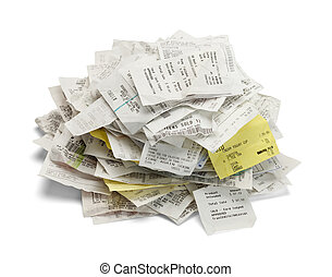 Receipt Pile - Heap of paper sales receipts in a mound...