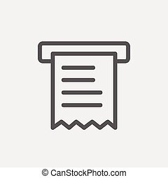 Receipt thin line icon - Paper towel with roller icon thin...