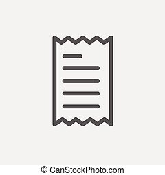 Receipt thin line icon - Paper with lines icon thin line for...