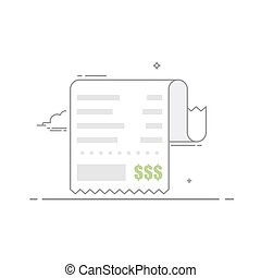 Receipt with the shopping list and the value of the goods. Financial document . Concept receipt thin line icon with a total cost. Vector illustration in a linear style isolated on white background.
