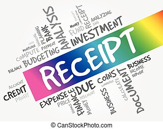 RECEIPT word cloud collage, business concept background
