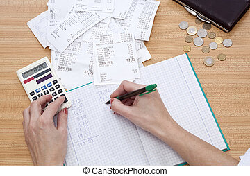 receipts - purse with money and shopping receipt on table