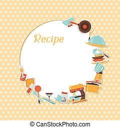 receita, cozinha, utensils., fundo, restaurante