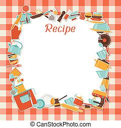 receita, fundo, com, cozinha, e, restaurante, utensils.