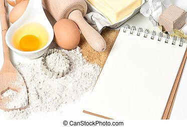 receita, livro, e, assando, ingredients., experiência...