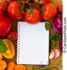 receitas, caderno, em branco