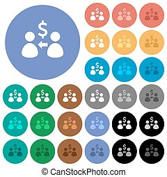 Receive Dollars round flat multi colored icons
