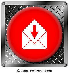 Receive e-mail metallic icon