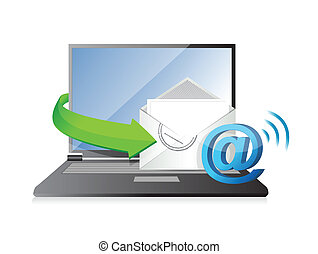 receiving an email. illustration design over a white...