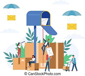 Receiving letter. Small people postmans and giant mailbox with letters, sorting parcels, newsletter social news, mail service postage stamp envelopes delivery vector flat concept