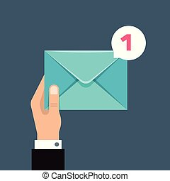 Receiving message vector concept with envelope in users hand