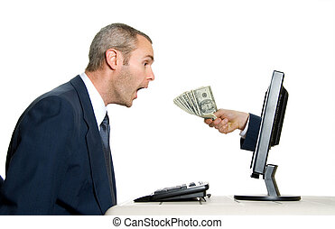 receiving money - surprised man getting money from the...