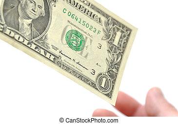 Receiving one dollar bill