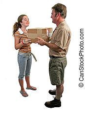 receiving, un, paquete, 2