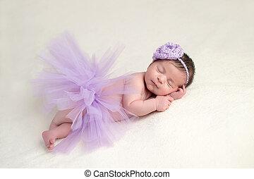 recem nascido, bailarina, menina, traje, bebê