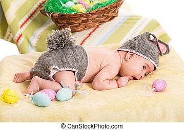 recem nascido, bebê, menina, traje, coelhinho