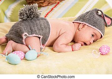 recem nascido, bebê, traje, coelhinho