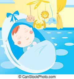 recem nascido, cute, bebê, dormir