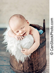 recem nascido, cute, bebê, retrato, dormir