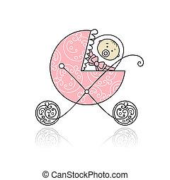 recem nascido, em, bebê, buggy, para, seu, desenho
