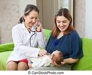 recem nascido, examinando, doutor, crianças, maduras