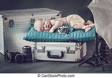 recem nascido, fotógrafo, pequeno, retrato