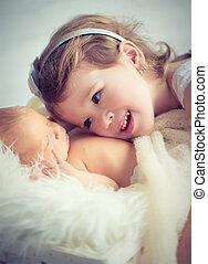 recem nascido, irmão, luz, bebê, crianças, irmã