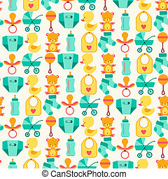 recem nascido, padrão, seamless, icons., bebê