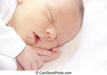 recem nascido, retrato, bebê, dormir