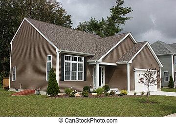 recentemente, completado, casa, residencial