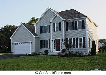 recentemente, completato, residente, casa