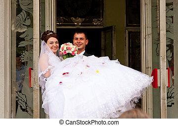 recentemente, sposarsi, coppia, felice