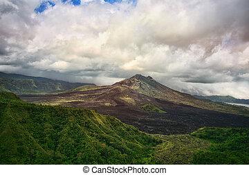 Recently awakened volcano Gunung-Batur - Gunung-Batur -...