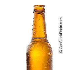 beer bottle - recently opened beer bottle on white...