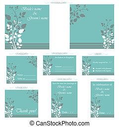 recepção, cartão, casório