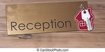 recepción, casa de madera, símbolo, llave, escritorio, plata