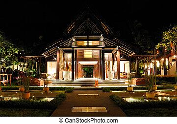 recepción, de, lujo, hotel, en, noche, iluminación, samui,...