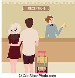 recepción del hotel, niña, pareja, viaje, recepción,...