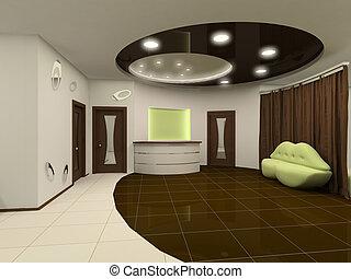 recepción, diseño de interiores, vestíbulo, con, muebles